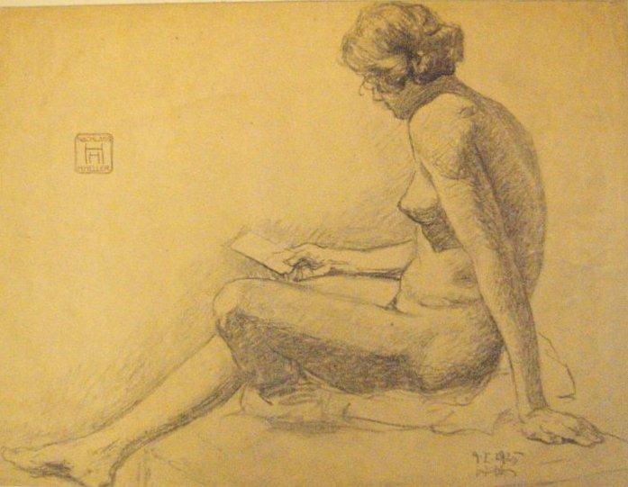 1 Original Tuschezeichnung (Sitzender Frauenakt). Unten rechts handsigniert und datiert (9.1.1925). Oben rechts Monogrammstempel (
