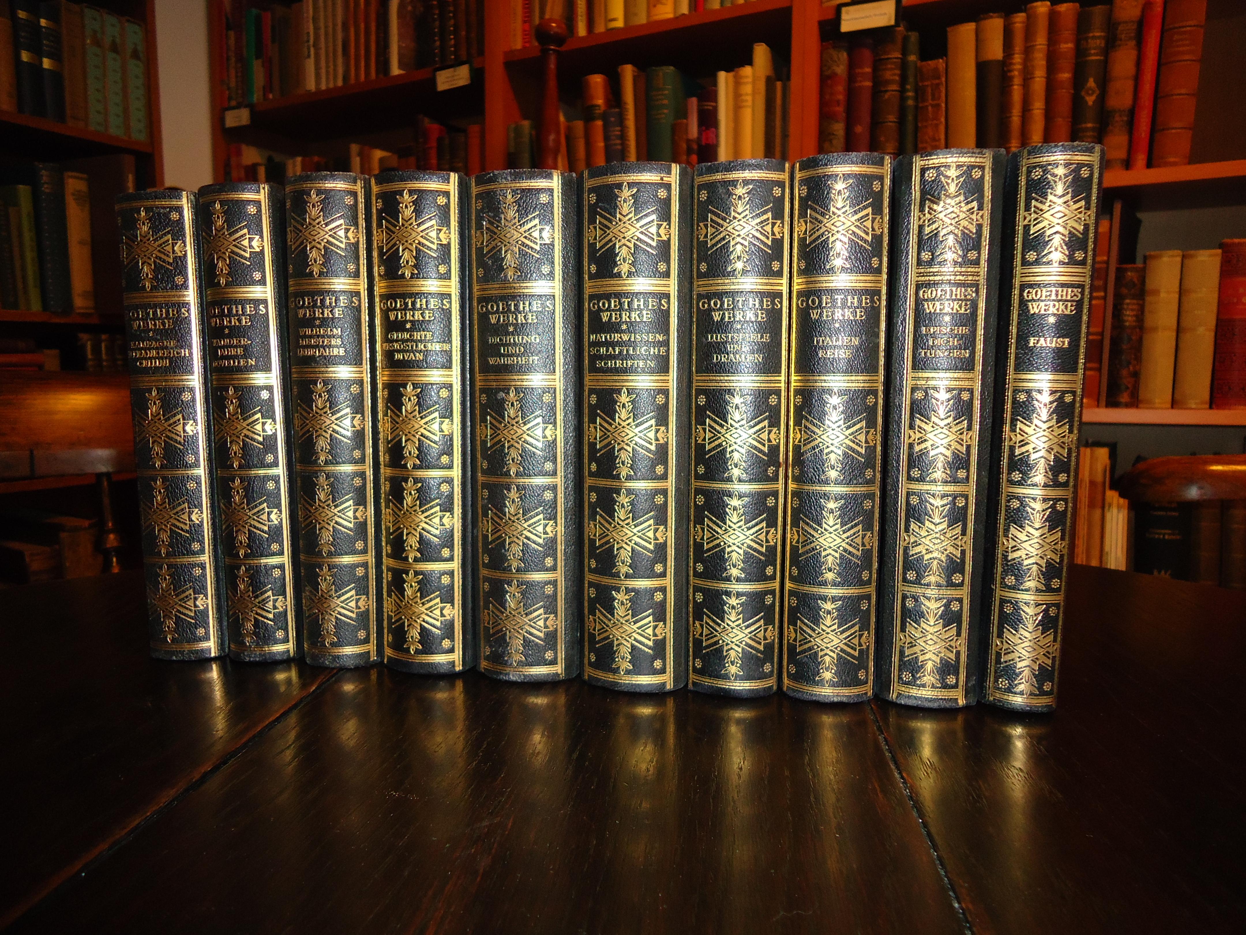 Halblederausgabe - Goethes Werke. In Verbindung mit Hans Schimank, Hermann Tiemann und Julius Schuster hrsg. von Chr. Christiansen. 10 Bände.