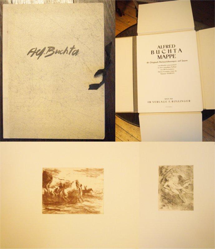 Alfred Buchta Mappe. 18 Original-Steinzeichnungen auf Japan vom Künstler unterzeichnet in einer einmaligen Auflage von 150 Exemplaren. Dieses trägt die Nummer 3.