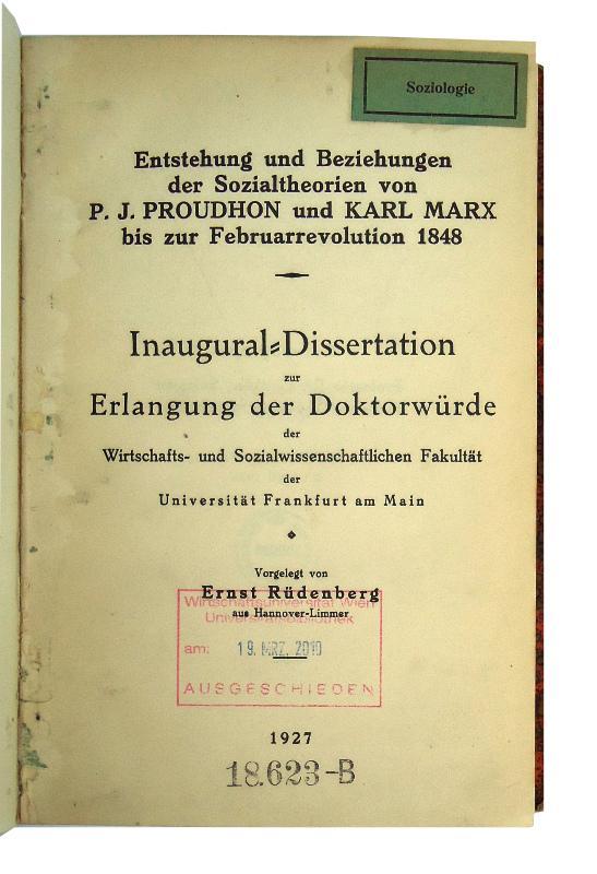 Entstehung und Beziehungen der Sozialtheorien von P. J. Proudhon und Karl Marx bis zur Februarrevolution 1848. Dissertation der Universität Frankfurt am Main.