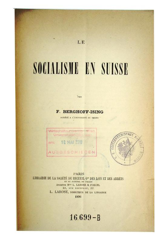 Le socialisme en Suisse.