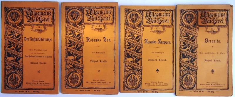 Konvolut von 4 Bänden (= Allgemeine Bücherei, Bde. 13, 14, 15, 24).