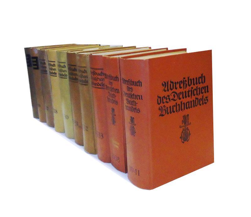Adressbuch des Deutschen Buchhandels. 10 Jahrgänge in Einzelbänden (1913, 1924, 1927, 1928, 1930-1933, 1938, 1941).