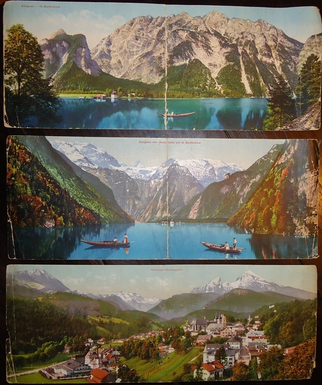 Konvolut von 3 photochrom. Panoramakarten von Oberbayern. Alle 35,5 x 14cm.