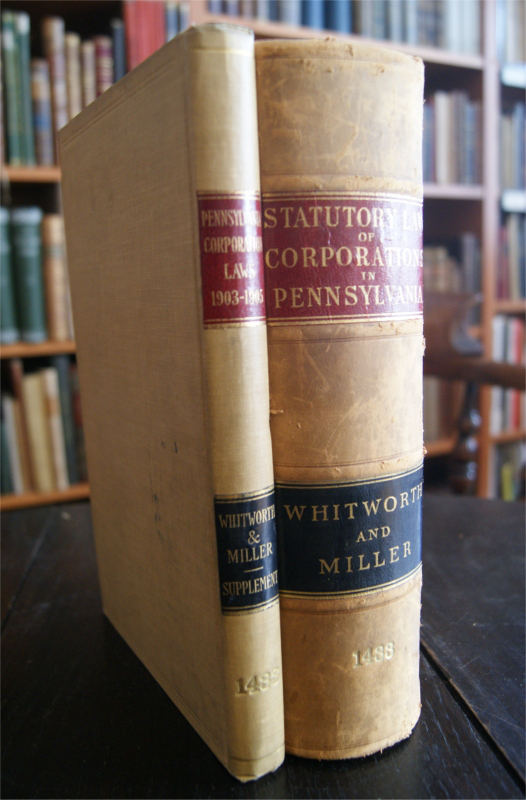 Statutory Law of Corporations in Pennsylvania. Including Annotations and a Complete Set of Forms. 1 vol. + Supplement: The Corporation Laws of Pennsylvania, 1903-1905. including railroads and street railways, compiled and classified (...)