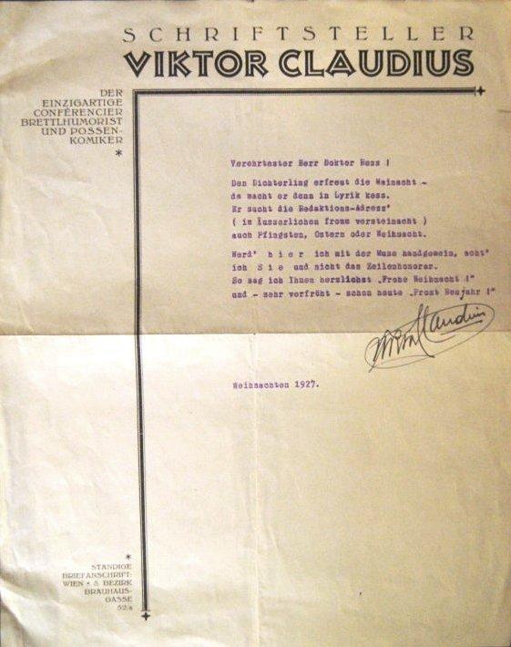 1 eigenhändig unterzeichnetes Widmungsgedicht zu Weihnachten 1927.