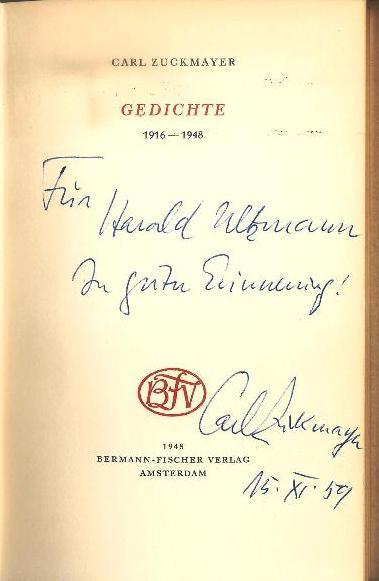 WIDMUNGSEXEMPLAR - Gedichte. 1916-1948.