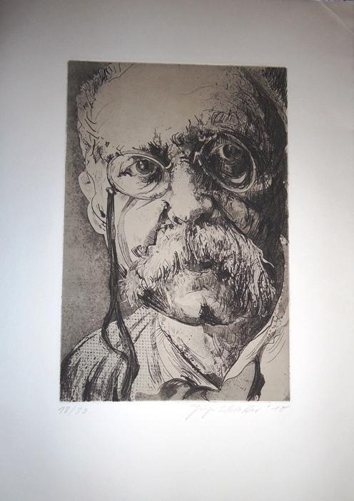 Originalradierung. Porträt von Peter Altenberg.