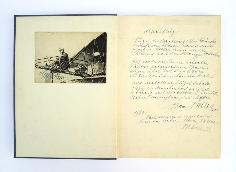3 Autographe + Zeichnung (Widmungsexemplar + Orig.-Karikatur von Ernst Udet + beschriebene Fotokarte).