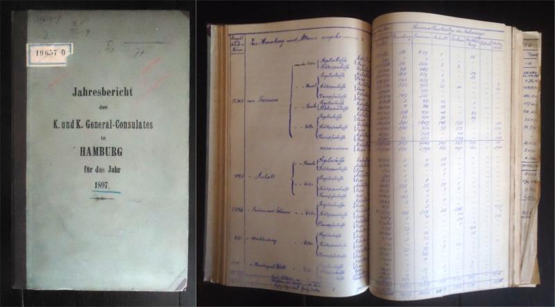 Jahresbericht des K. und K. General-Consulates in Hamburg für das Jahr 1897. Gebundenes Typoskript.