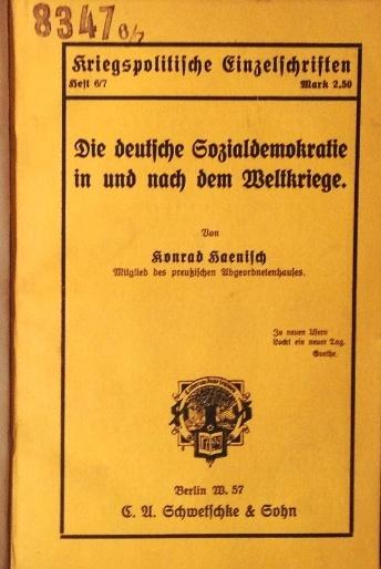 Die deutsche Sozialdemokratie in und nach dem Weltkriege.