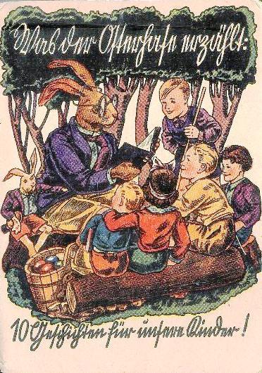 10 Blätter mit Ostermotiven, verso mit dazu passenden Geschichten bedruckt (Überschriften in Kurrent).