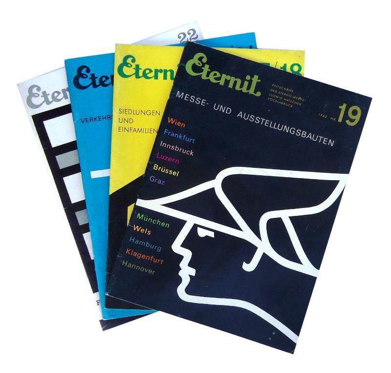 Zeitschrift der Eternit-Werke Ludwig Hatschek Vöcklabruck 1961/1962. 4 Nummern: Verkehrsbauten / Messe- und Ausstellungsbauten / Fassaden / Siedlunge und Einfamilienhäuser.