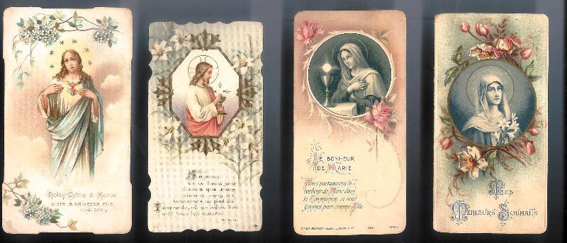 4 Heiligenbilder, Frankreich, um 1900.