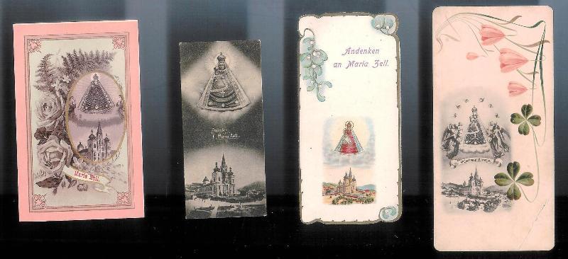 4 Andachtskärtchen an Maria Zell, um 1900.