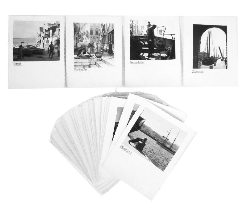 90 Fotokarten einer Italienreise (Städte, Landschaften, Alltagsszenen). Nicht datiert (ca. 1930).Vermutlich Dokumentation einer privaten Reise.