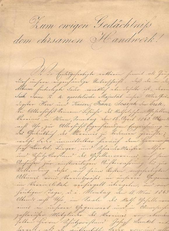 Urkunde zur feierlichen Unterzeichnung und Federübergabe von Kaiser Franz Joseph I. an den Katholischen Gesellenverein 1863.