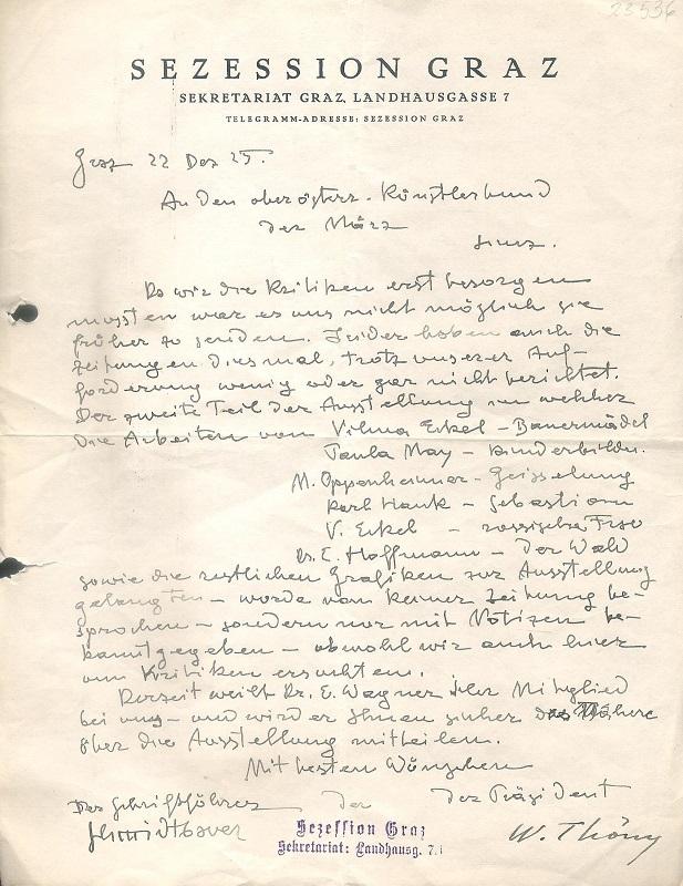 Eigenhändig unterschriebener Brief von Wilhelm Thöny an den Österreichischen Künstlerbund 22. XII. 1925.