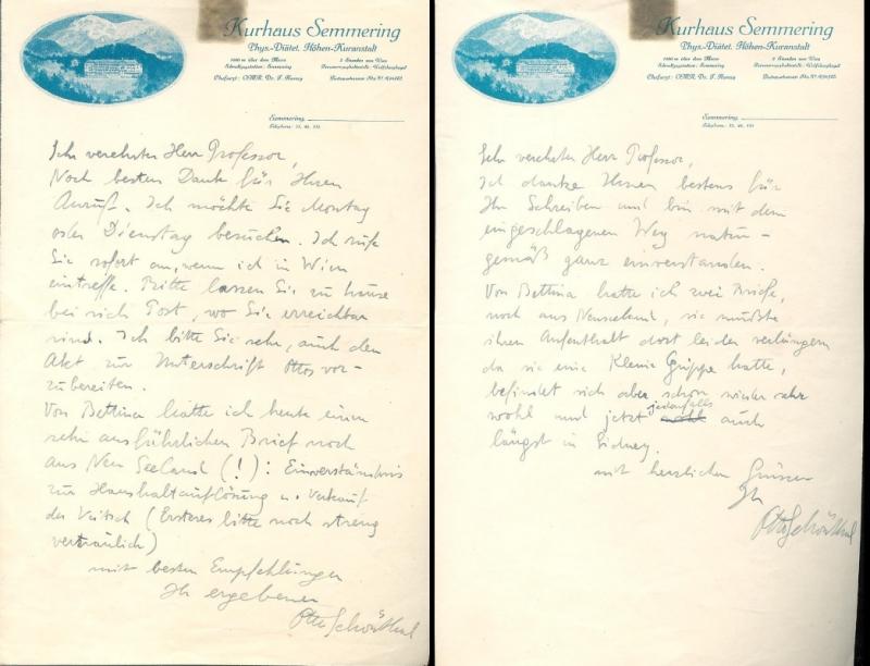 2 eigenhändige Briefe mit eigenhändiger Unterschrift von Otto Schönthal.