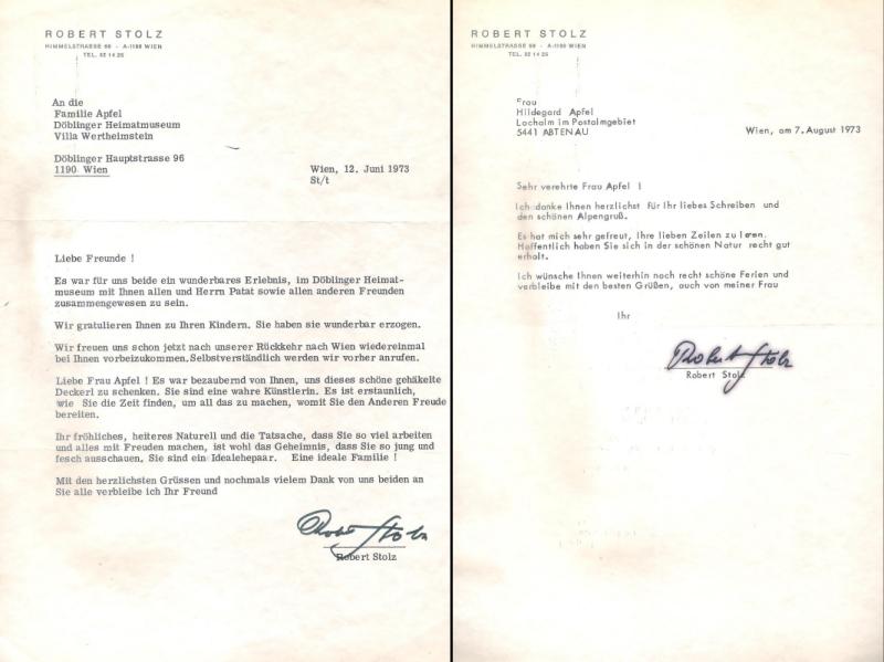2 maschinengeschriebene Briefe mit eigenhändiger Unterschrift von Robert Stolz aus dem Jahr 1973.