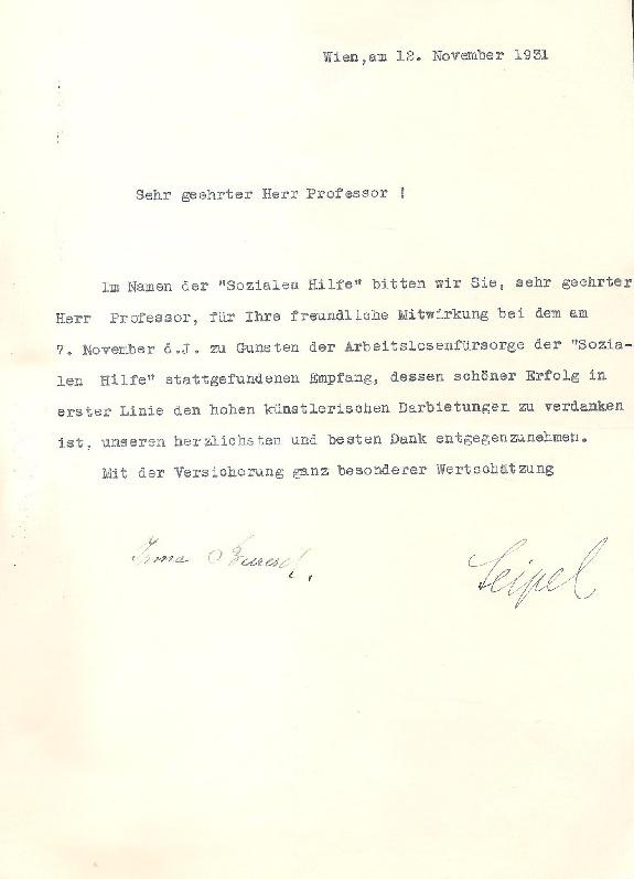 Maschinengeschriebener und eigenhändig unterschriebener Brief von Ignaz Seipel und irma Buresch vom 12. XI. 1931.
