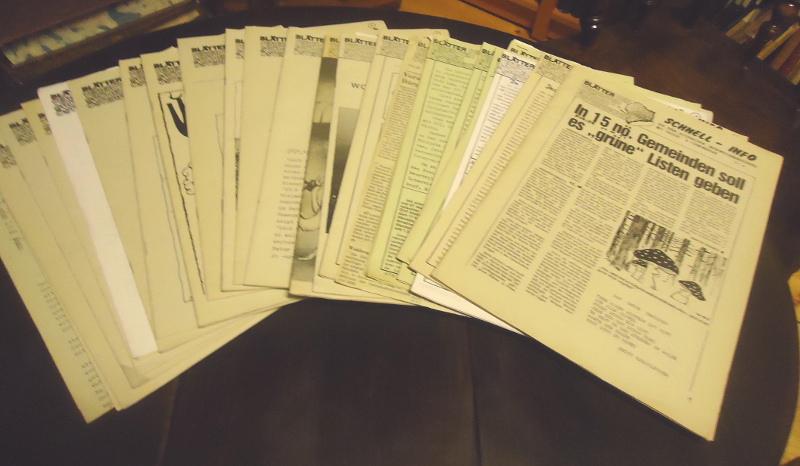 Blätter der Vereinten Grünen Österreichs. Schnell-Info des grün-alternativen Informationsreferates mit Presse- u. erminschau. 23 Hefte von 1984-1986.