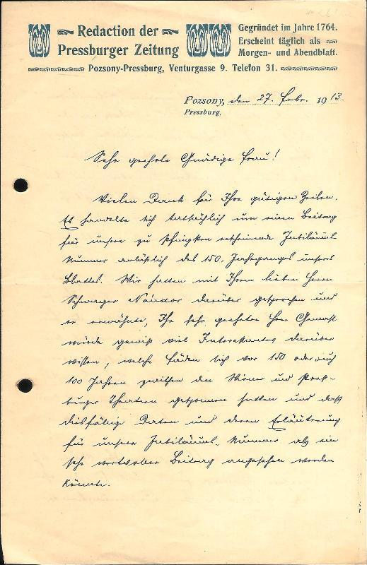 Eigenhändiger Brief von Carl Angermayer jun., Preßburg, 27. II. 1913.