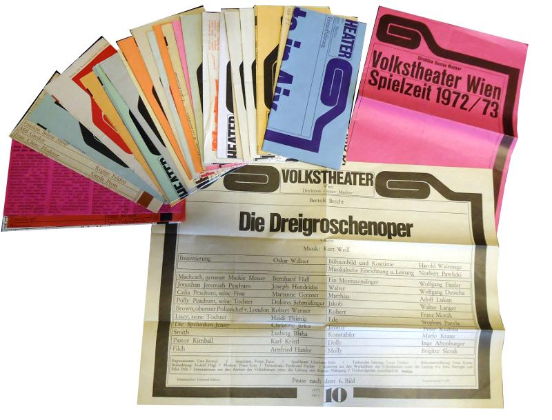 Konvolut von 28 Plakaten des Wiener Volkstheaters aus den 1960er und 1970er Jahren.