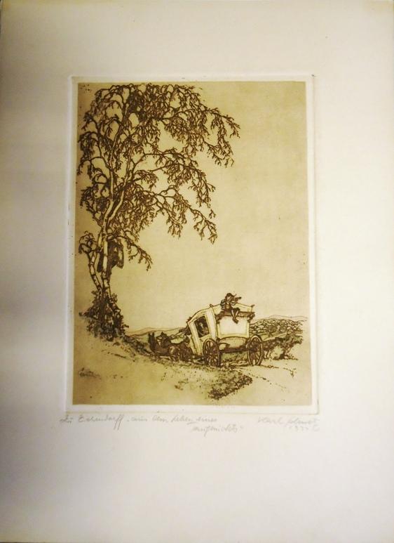 Original-Radierung. Mit Bleistift signiert, 1922. Zu Eichendorf,
