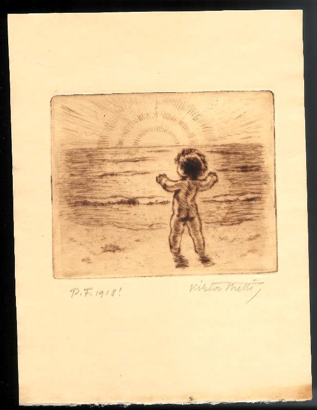Kind vor dem Sonnenaufgang. Original-Radierung von Viktor Stretti für Friedrich Perutz aus dem Jahre 1918.