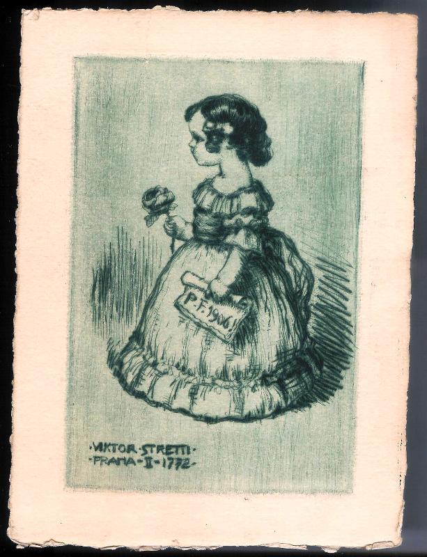 Mädchen mit Rose. Original-Radierung von Viktor Stretti für Friedrich Perutz aus dem Jahre 1906.