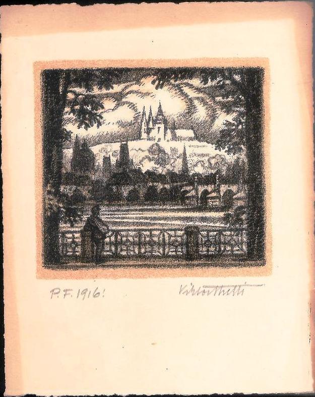 Moldau, Prager Burg und Karlsbrücke. Original-Lithographie von Viktor Stretti für Friedrich Perutz aus dem Jahre 1916.