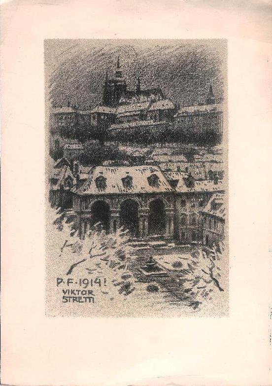 Ansicht der Prager Burg. Original-Lithographie von Viktor Stretti für Friedrich Perutz aus dem Jahre 1914.