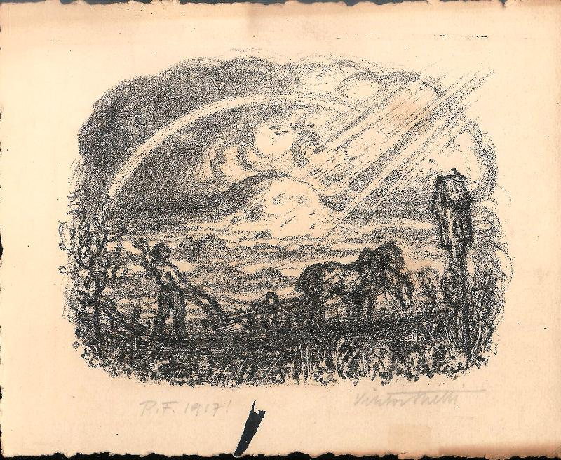 Mann beim Pflügen. Original-Lithographie von Viktor Stretti für Friedrich Perutz aus dem Jahre 1917.