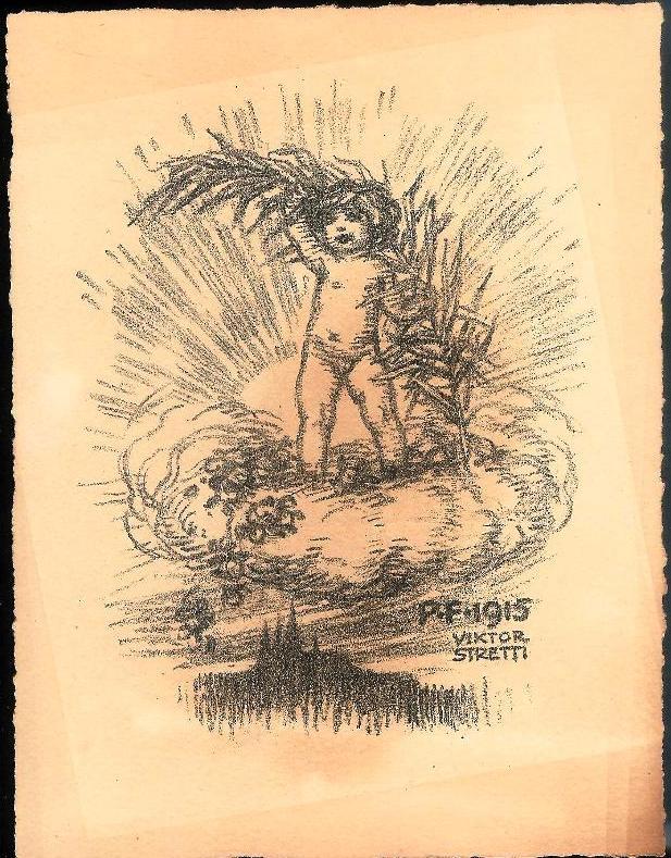 Kind mit Zweig über Prag. Original-Lithographie von Viktor Stretti für Friedrich Perutz aus dem Jahre 1915.