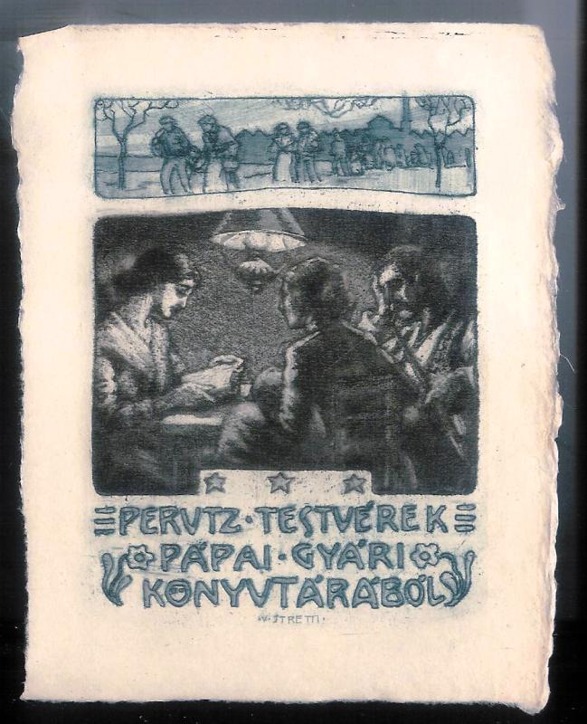Exlibris von Viktor Stretti für die Geschwister Perutz.