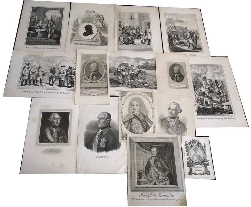 Konvolut aus 14 Poträttafeln Kaiser Josefs bzw. historischer Szenen, mehrheitlich gestochen.