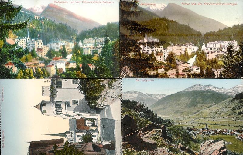 4 lithographisch kolorierte Ansichtskarten.