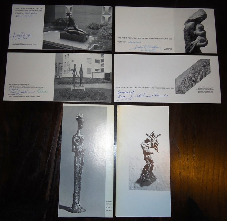 6 Glückwunschkarten zu Weihnachten von Hubert Wilfan. Alle eigenhändig beschrieben und unterzeichnet.