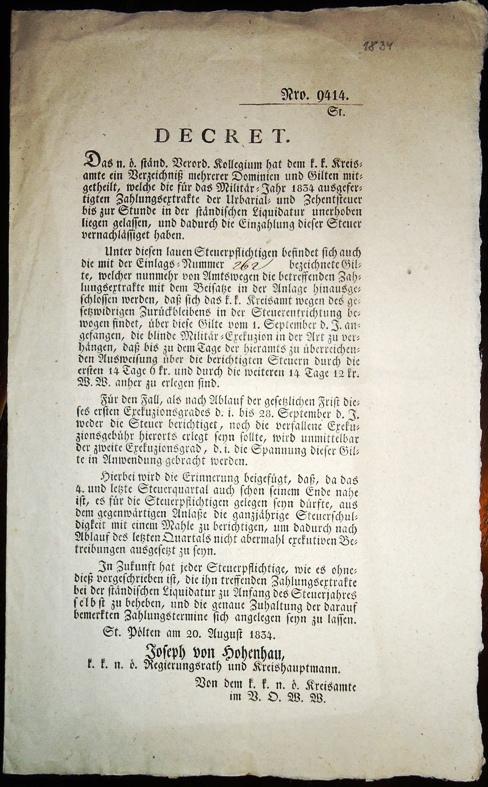 Decret Nro 9414. St. Pölten am 20.8.1834 zur Steuerpflicht.
