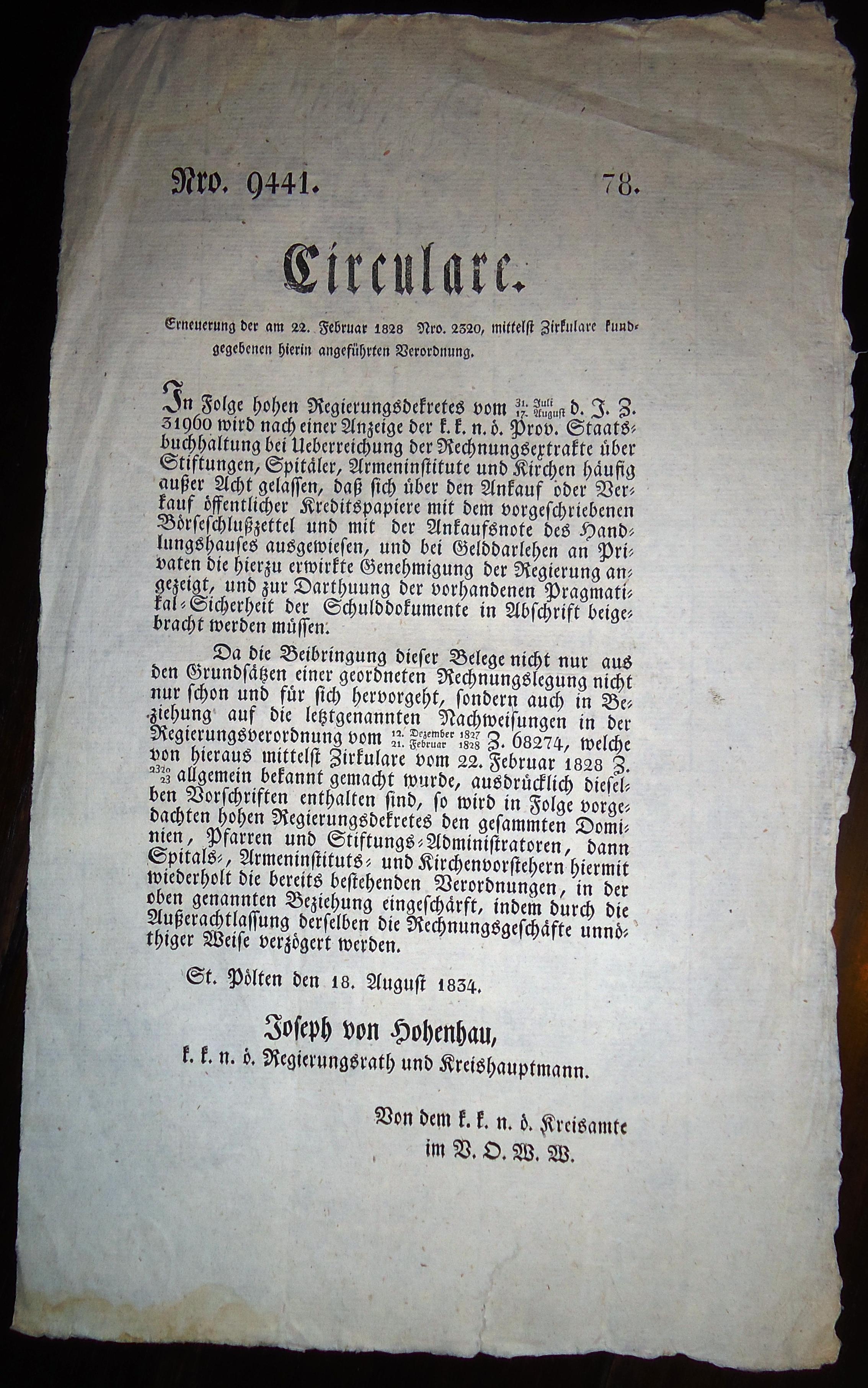 Circulare Nro. 9441/78 von 18.8.1834,