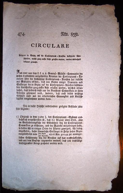 Circulare Nro. 8551/474 vom 6.9.1816,