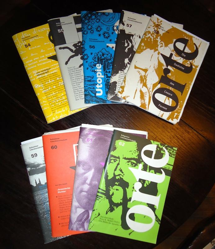 orte. Schweizer Literaturzeitschrift. 9 Hefte der Jahrgänge 1986 (54, 55, 56, 57) und 1987 (58, 59, 60, 61, 62,) + Korrespondenzen des Verlages.