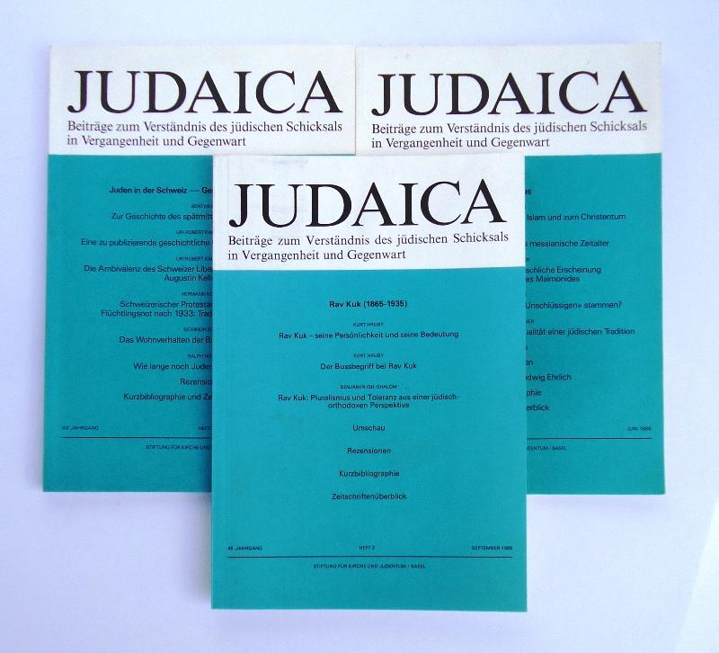 Judaica. Beiträge zum Verständnis des jüdischen Schicksals in Vergangenheit und Gegenwart. 3 Hefte 1986/1989.