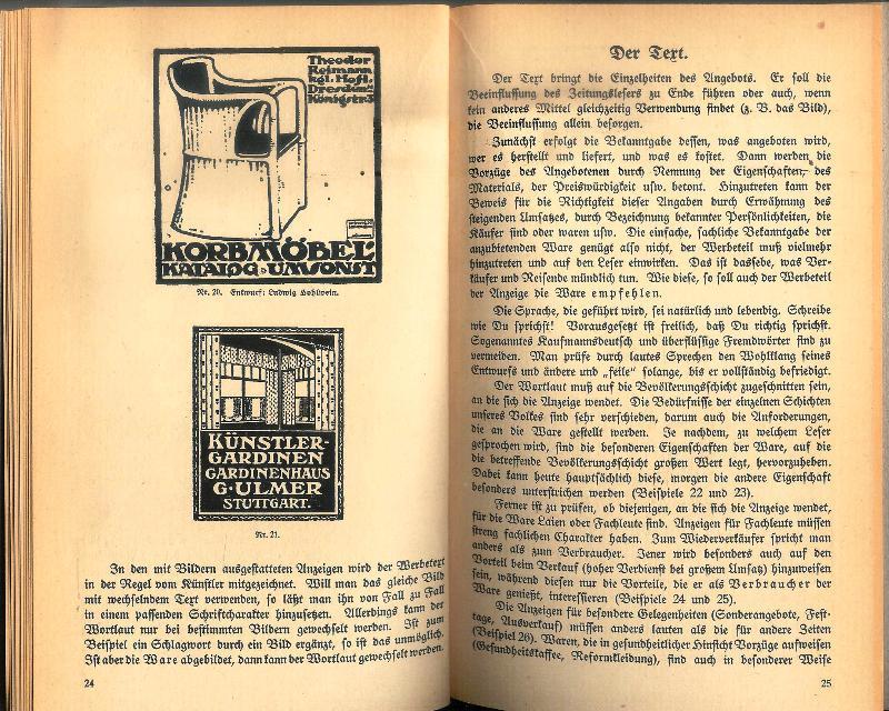 Wirkungsvolle Reklame. Ein kurzgefaßtes Lehrbuch mit Beispielen. Erster Teil: Wie Zeitungsanzeigen ausshene sollen.