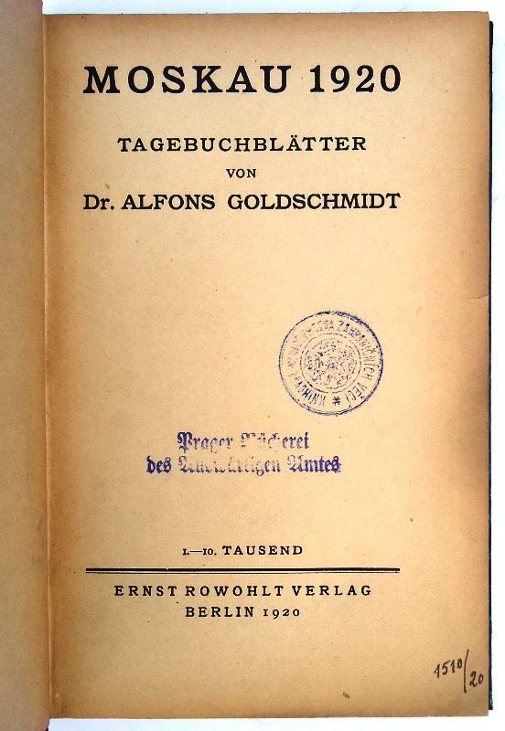 Moskau 1920. Tagebuchblätter. 1.-10. Tausend.