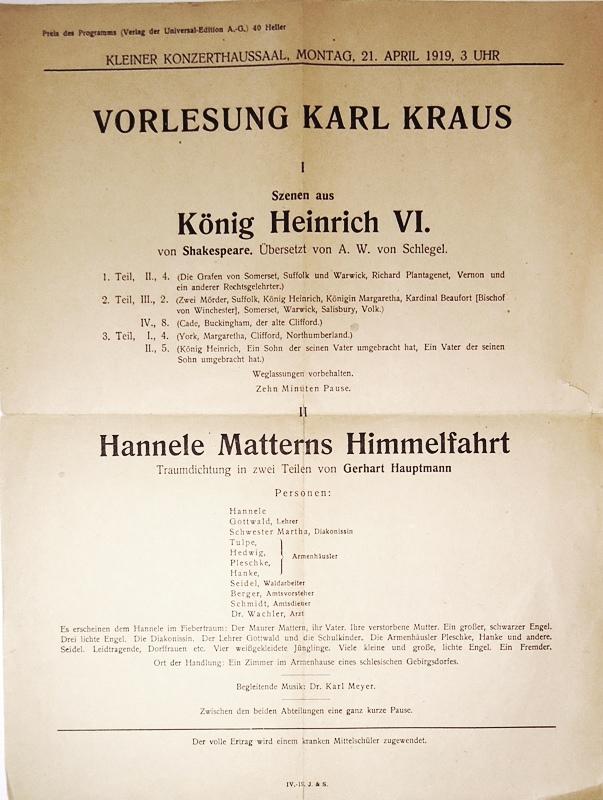 Vorlesung Karl Kraus am Montag, 21. April 1919, 3 Uhr, kleiner Konzerthaussaal.