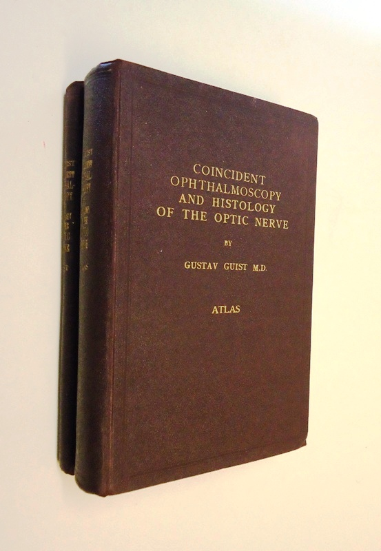 Dedicated copy / Widmungsexemplar - Coincident ophthalmoscopy and histology of the optic nerve. 2 volumes (text + atlas).