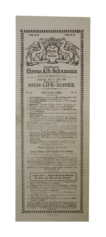 Circus Alb. Schumann. High-Life-Soiree am Samstag, den 18. Juni 1892.