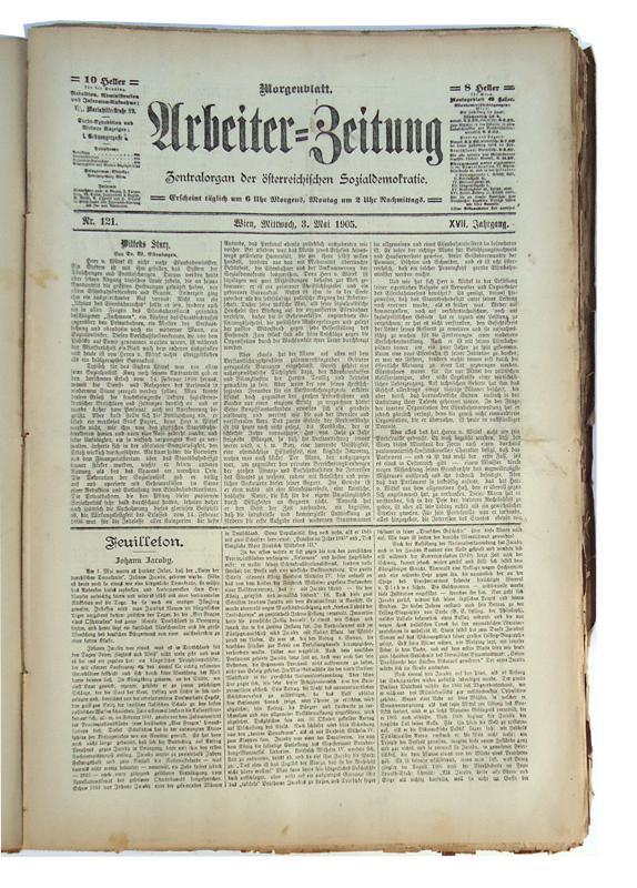 Arbeiter-Zeitung. Zentralorgan der österreichischen Sozialdemokratie. Morgenblatt. 1377 Hefte der Jahrgänge XIII bis XXVI (1901-1914). Gebunden in 17 Bänden auf je 5 Bünden, ohne Einbände.